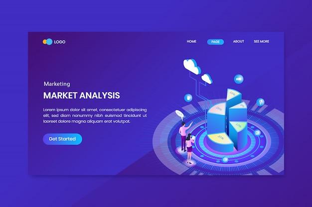 Pagina di destinazione di infografica isometrica marketing grafico a torta