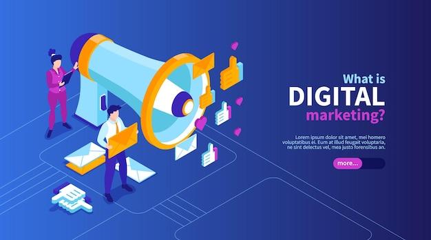 Banner web di strategia di marketing isometrica con testo modificabile e icone con pittogrammi di posta elettronica e persone