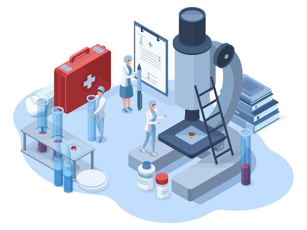 Laboratorio 3d di ricerca farmaceutica medica isometrica. illustrazione di vettore dei caratteri degli scienziati del laboratorio chimico di scienza. ricerca genetica e sviluppo farmaceutico. analisi del sangue