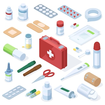 Attrezzatura per kit di pronto soccorso per farmacia medica isometrica. attrezzature mediche, farmaci da farmacia, pillole, cerotti, spray, set di illustrazioni vettoriali per siringhe. trattamento di medicina d'urgenza