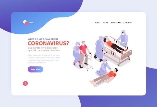 Sito web di banner di medicina isometrica e coronavirus