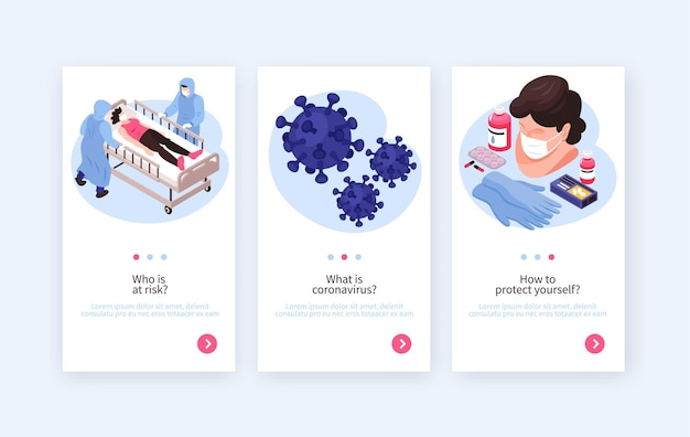 Set di banner verticali di medicina isometrica e coronavirus