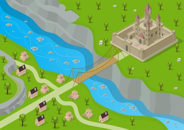 Castello medievale isometrico circondato da una fortezza con un fiume, un ponte e un villaggio di fronte.