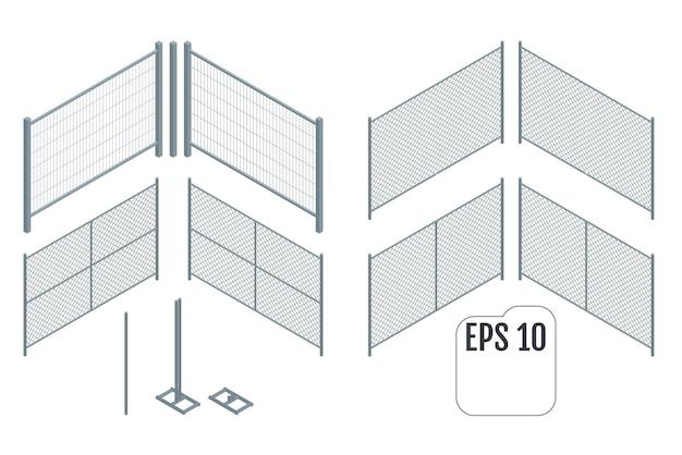 Illustrazione di sezioni di recinzione metallica isometrica