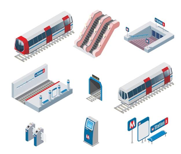 Collezione di elementi della metropolitana isometrica