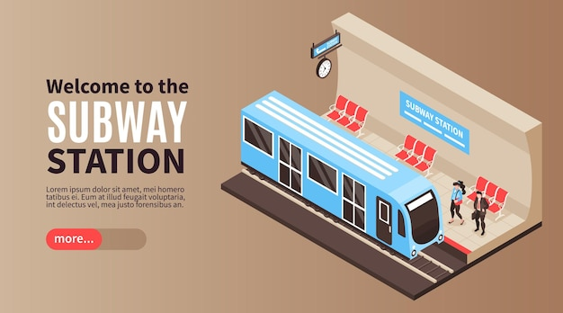 Illustrazione di banner orizzontale della metropolitana isometrica della metropolitana