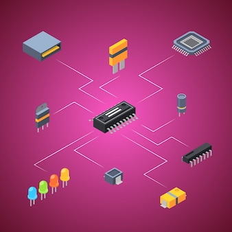 Microchip isometrici parti elettroniche icone infografica