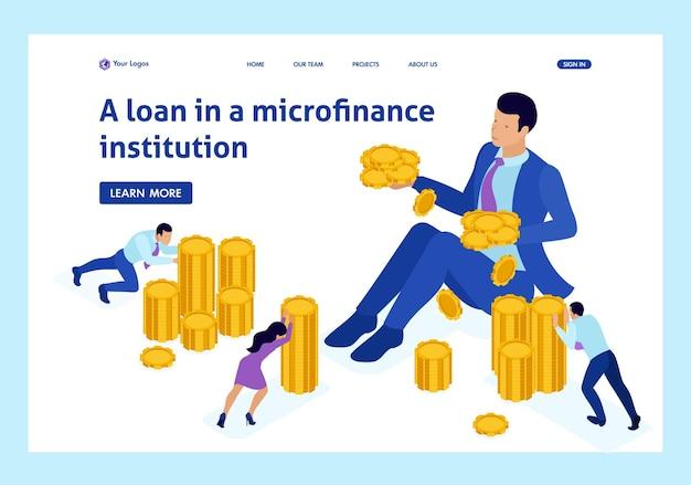 Organizzazione di microfinanza isometrica, grande uomo d'affari che tiene molti soldi. pagina di destinazione del modello di sito web.