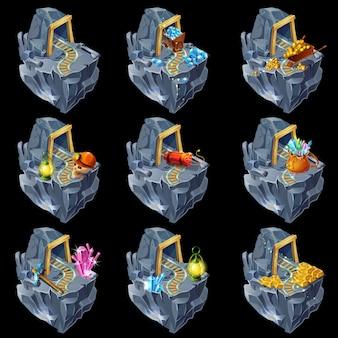 Collezione isometrica mining game islands
