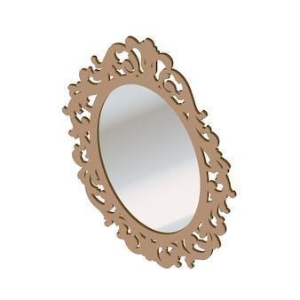 Specchio isometrico in cornice di legno isolato su sfondo bianco. due specchi da parete con illustrazione di cartone animato vettoriale riflesso sfocato.
