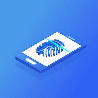 Smart phone mobile isometrico e scansione dell'impronta digitale su fondo blu. protezione delle informazioni digitali