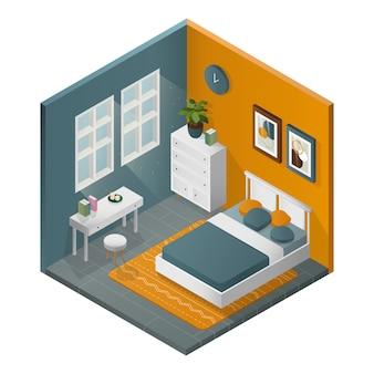 Camera da letto moderna isometrica. pavimento grigio e pareti gialle.
