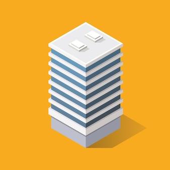 Edificio moderno isometrico. illustrazione vettoriale