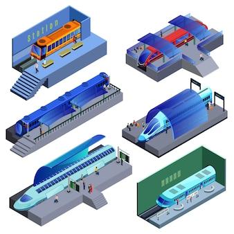 Set di trasporto ferroviario moderno isometrico