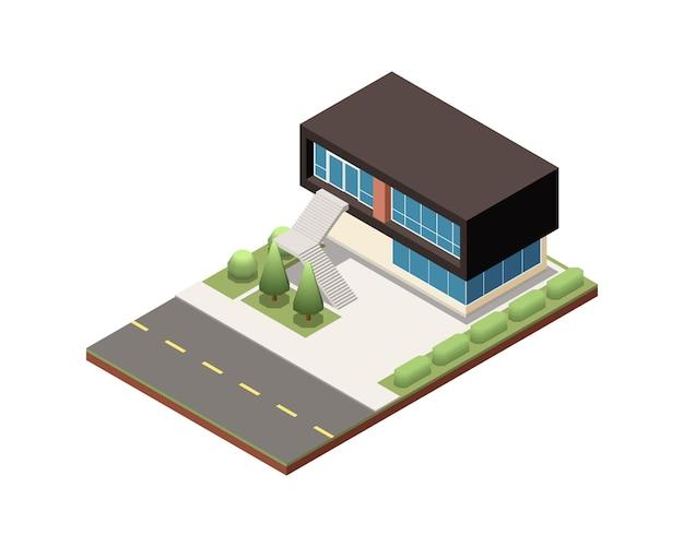 Casa suburbana moderna isometrica con due piani e grandi finestre 3d