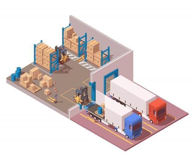 Il moderno magazzino isometrico comprende semi camion, pallet, scatole, carrello elevatore e transpallet.