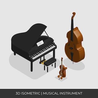 Set di strumenti musicali isometrici. piano contrabbasso e violino
