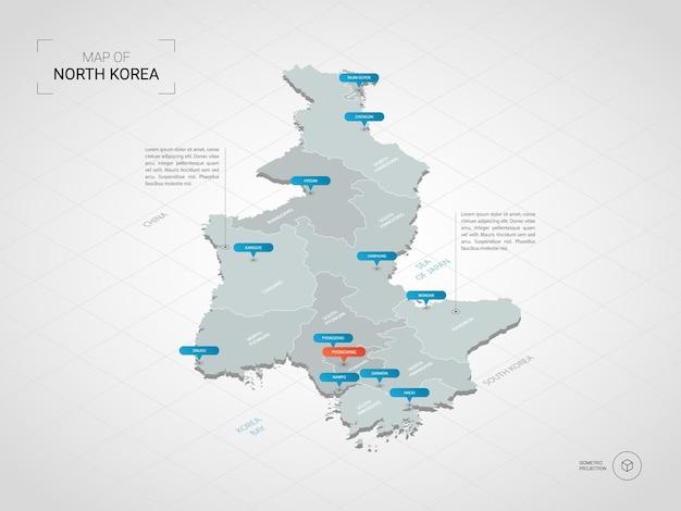 Mappa isometrica della corea del nord. illustrazione stilizzata della mappa con città, confini, capitale, divisioni amministrative e indicatori di direzione; sfondo sfumato con griglia.