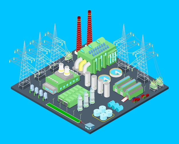 Centrale nucleare isometrica con tubi. illustrazione