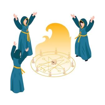 Composizione isometrica in una sessione occulta con occultisti in piedi intorno al fuoco simboli runici candele teschio