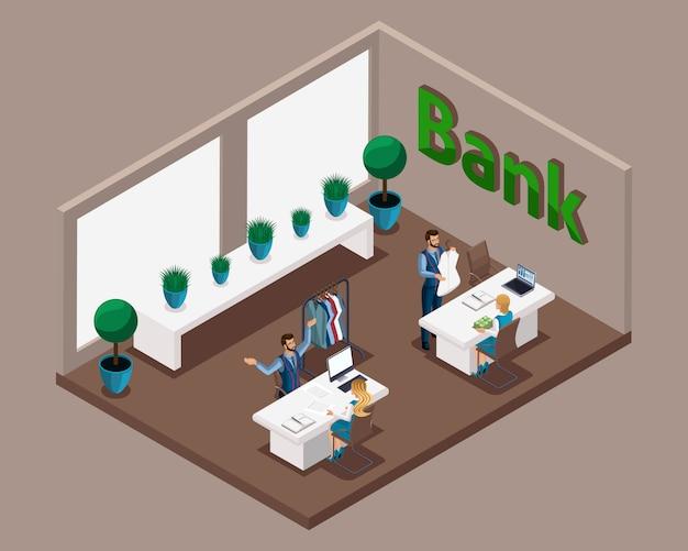 Ufficio isometrico della banca, impiegati di banca al servizio dei clienti, prestiti per lo sviluppo della propria attività sartoriale, apertura di un laboratorio sartoriale