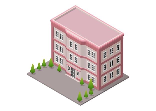 Ufficio isometrico o edificio alberghiero con alberi isolati su bianco