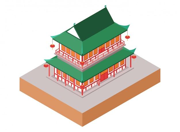 Vecchia costruzione isometrica del tempio verde del cinese tradizionale con le lampade tradizionali