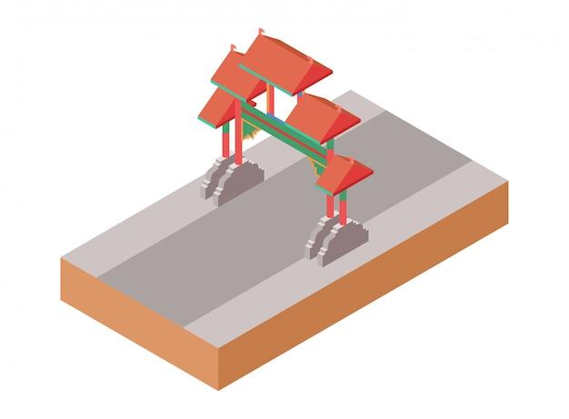 Vecchio portone isometrico del tempio del cinese tradizionale su una via