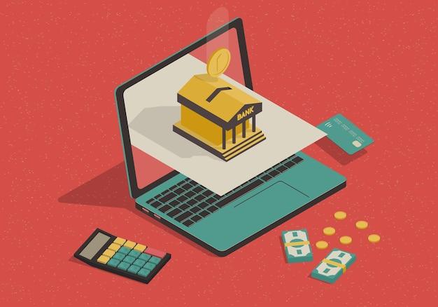 Concetto isometrico di attività bancarie in linea con il computer portatile