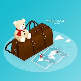 Prenotazione online isometrica, mappa del mondo passaporto, vettore di viaggio piano di viaggio
