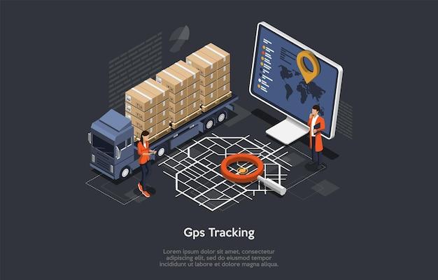 Sistema di monitoraggio della consegna del carico online isometrico con posizione gps del camion. stile piatto.