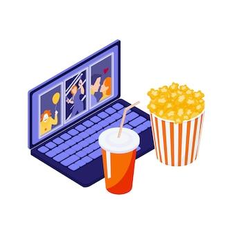 Cinema online isometrico con un laptop, un secchio per popcorn e un'illustrazione di bevande