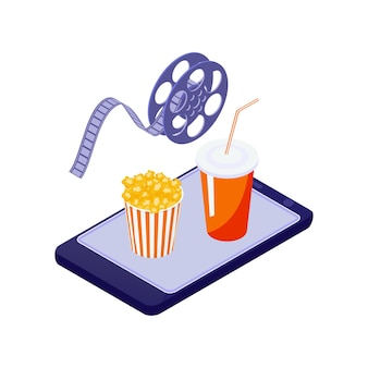 Cinema online isometrico con un telefono cellulare, secchio di popcorn e illustrazione di bevande