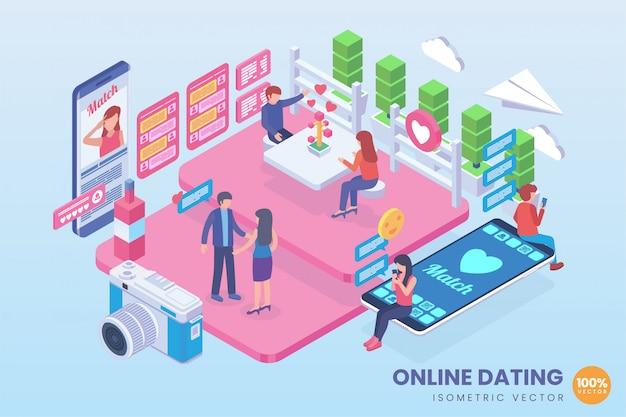 Illustrazione isometrica di appuntamenti online