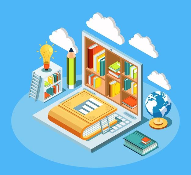Composizione di istruzione online isometrica con laptop e libri