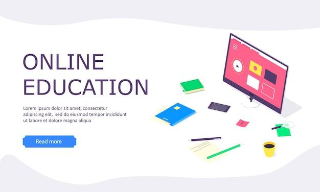 Pagina di destinazione web di studio di istruzione online isometrica