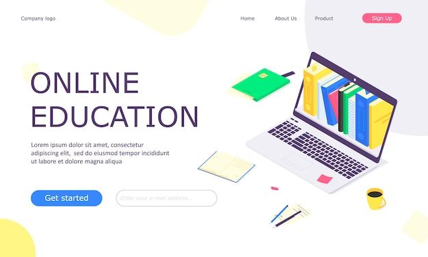 Pagina di destinazione del modello web di studio di istruzione online isometrica
