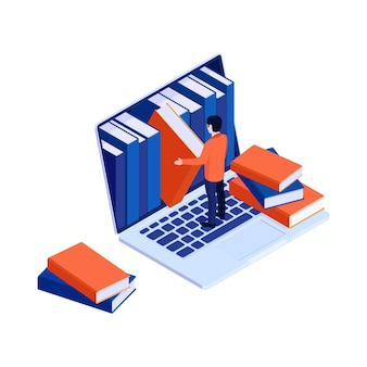 Concetto di biblioteca online isometrica con computer e uomo che scelgono il libro 3d