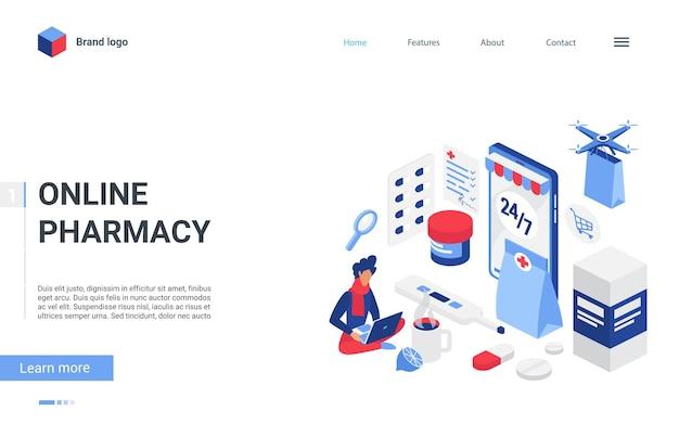 Illustrazione di concetto di negozio di farmacia online isometrica