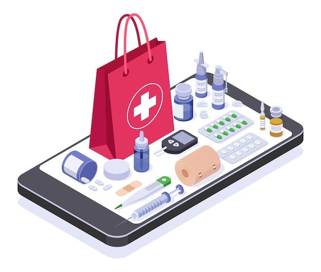 Negozio di farmacia online isometrica prodotto o attrezzatura medica sul concetto dello schermo dello smartphone