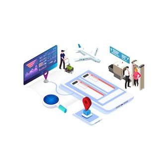 Acquisto online isometrico o prenotazione di biglietti per un aereo. viaggia in tutto il mondo e nei paesi