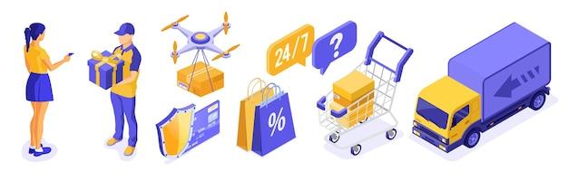 Concetto di logistica di consegna dello shopping online isometrico. consegna merci drone camion carrello fattorino con regalo. la ragazza paga le merci con carta di credito. acquisti su internet 24 ore su 24. isolato
