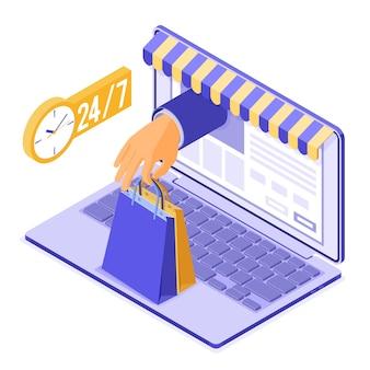 Shopping online isometrico, consegna, concetto di logistica. laptop con consegna in linea della borsa della mano. acquisti online 24 ore su 24 da casa. isolato