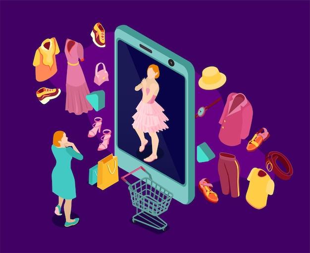 Composizione di moda per lo shopping online isometrica con specchio per smartphone personaggio femminile e set di vestiti e accessori