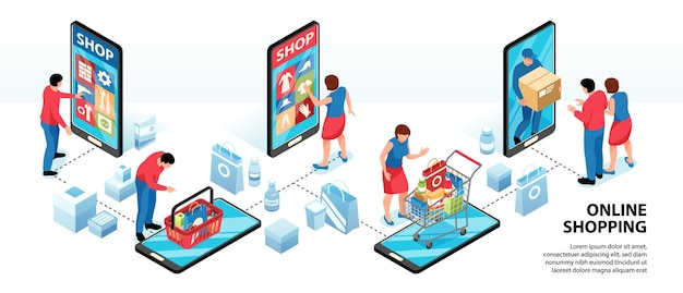 Infografica isometrica dello shopping online