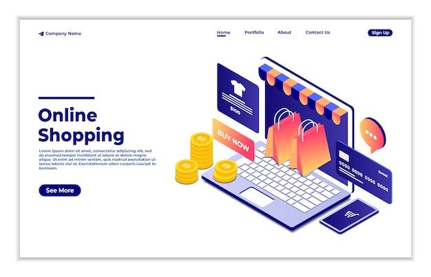 Shopping online isometrico persone che acquistano online utilizzando il concetto 3d di pagamento digitale e-commerce del computer portatile