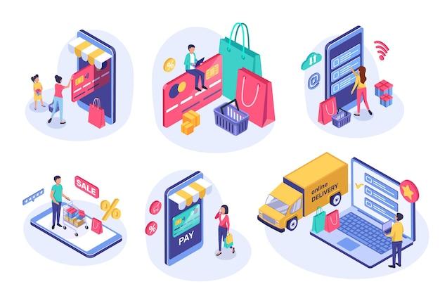 Shopping online isometrico persone che acquistano online utilizzando il concetto di pagamento digitale 3d di e-commerce del telefono