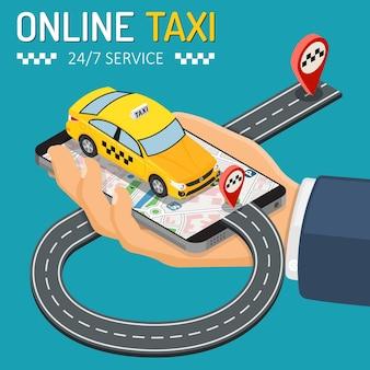 Concetto di servizio di taxi online isometrico