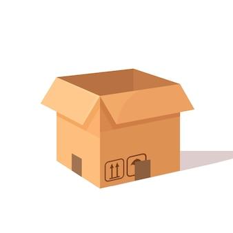 Cartone aperto isometrico, scatola di cartone. pacchetto di trasporto in negozio, concetto di distribuzione
