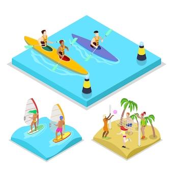 Illustrazione isometrica di kayak di attività all'aperto